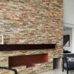 Golden honey stacked stone san jose ledger panel fireplace