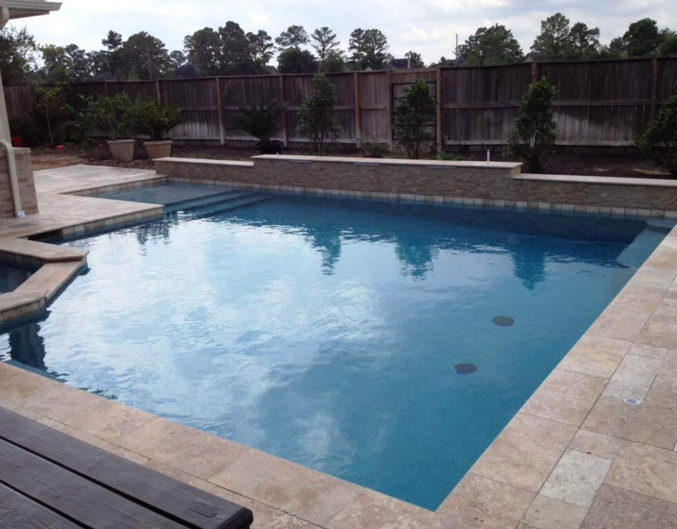 Noce travertine pool copings pavers Los Altos