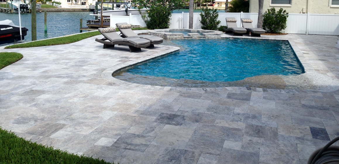 Silver travertine paver versailles pattern patio pool coping