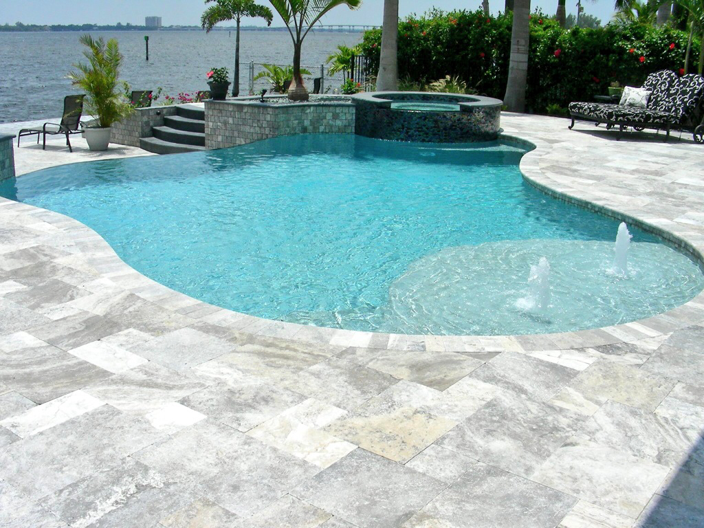 Silver travertine pavers pool coping patio outdoor stone