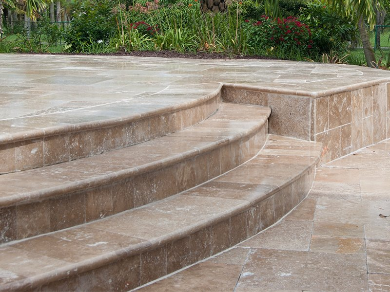 Tuscany Noce travertine pavers stairs outoodr stone walnut creek