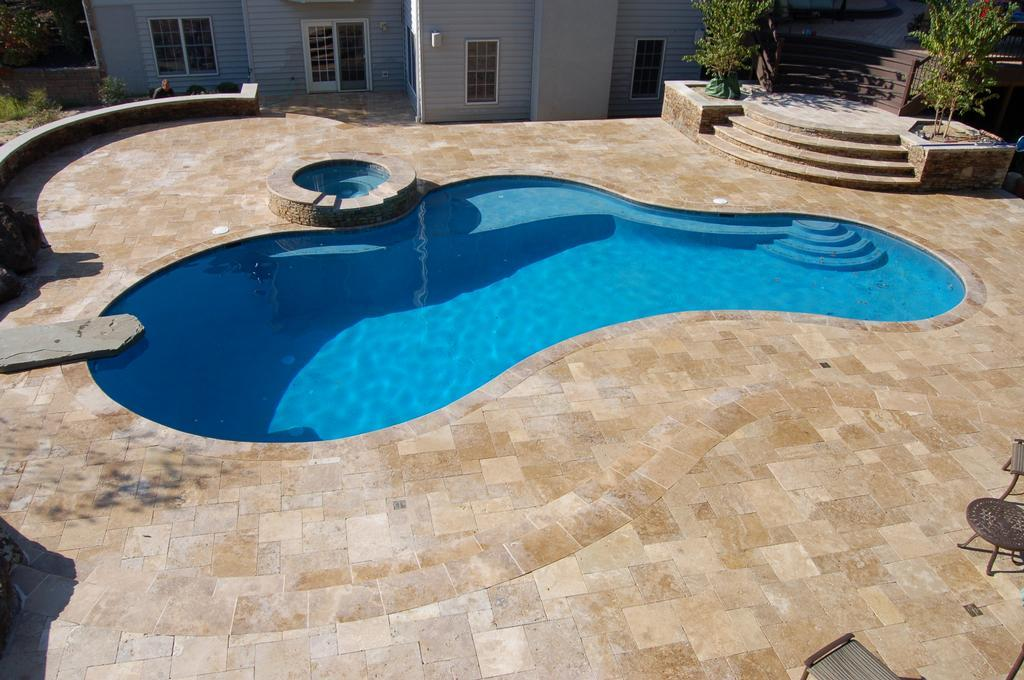 Tuscany Walnut travertine pavers french pattern outdoor Santa Cruz