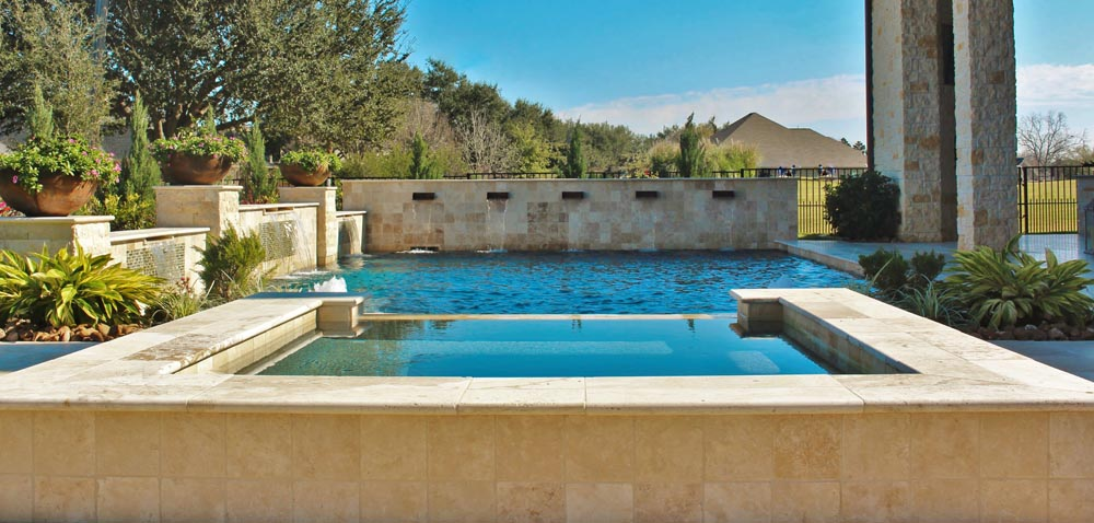 Tuscany beige travertine pool coping pavers for pool deck