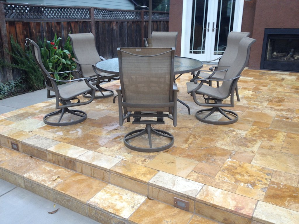 Gold travertine pavers natural outdoor patio french pattern Atherton