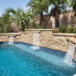 Walnut Travertine Capstone outdoor paver waterfall Los Gatos
