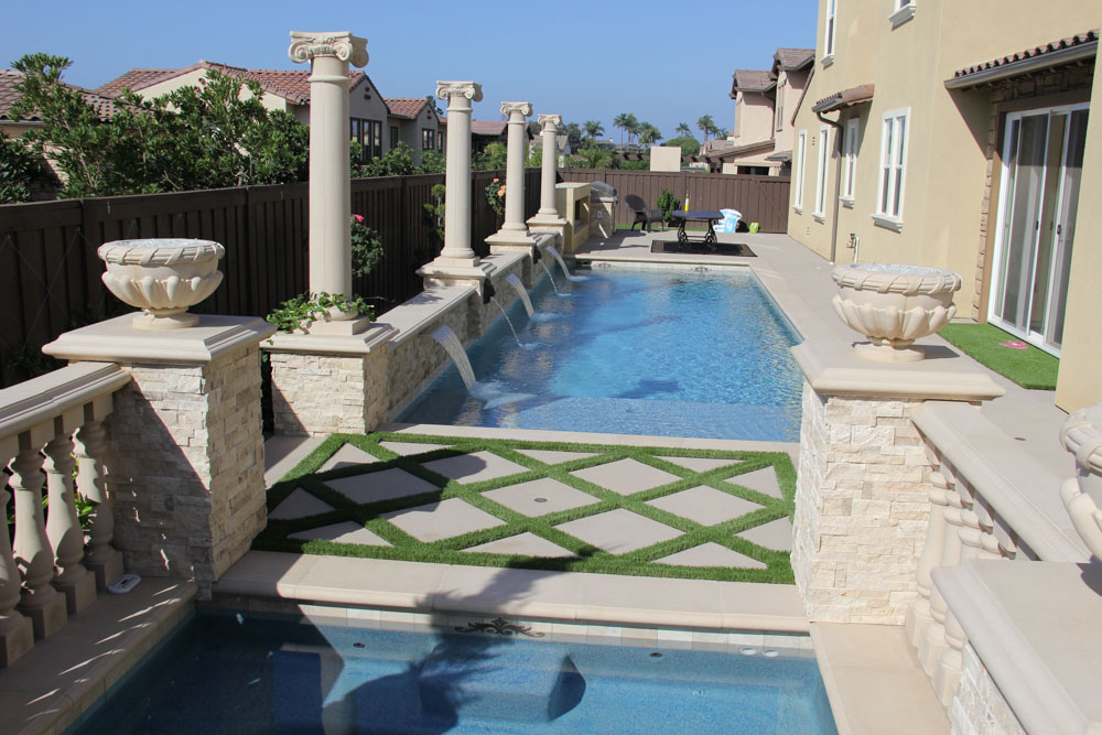 Ivory Classic Travertine Ledger Stacked Stone Veneer and pool coping Morgan Hill California