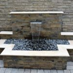 Rustic Gold leddger stone panels San Jose patio waterfall