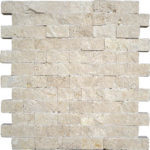 "1""x2"" Ivory/Light Split Face Travertine Mosaic"