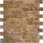 "1""x2"" Noce Split Face Travertine Mosaic"
