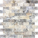 "1""x2"" Silver Split Face Travertine Mosaic"