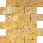 "2""x4"" Gold Split Face Travertine Mosaic"
