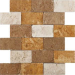 "2""x4"" Mixed Split Face Travertine Mosaic"
