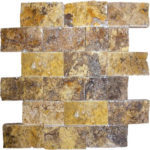 "2""x4"" Scabos Split Face Travertine Mosaic"