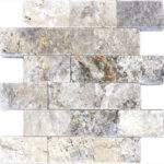 "2""x4"" Silver Split Face Travertine Mosaic"