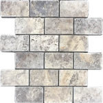 "2""x4"" Silver Travertine Mosaic"