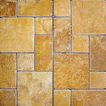 Gold Tumbled Mini Pattern Travertine Mosaic